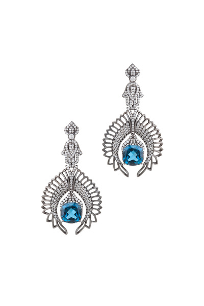 Bochic - White Gold London Blue Topaz Diamond Earrings