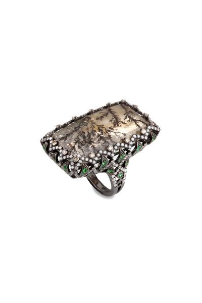 Bochic - White Gold Tsavorite Moss Agate Diamond Ring