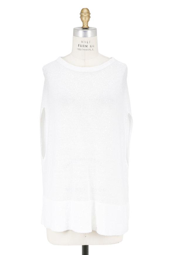 Brunello Cucinelli White Linen & Silk Pailette Poncho