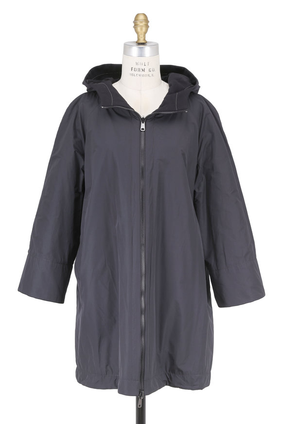 Brunello Cucinelli Black Taffeta & Cotton Reversible Hooded Anorak