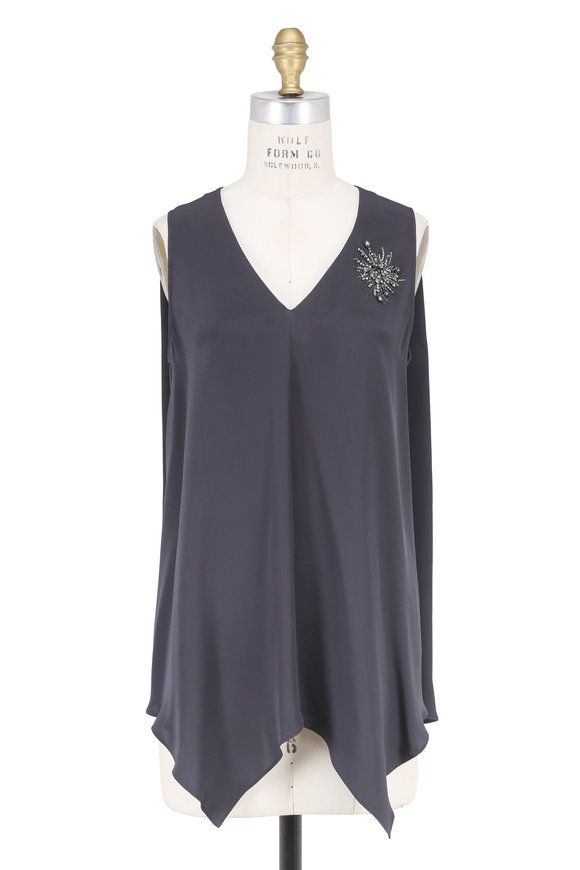 Brunello Cucinelli Volcano Silk Crest Detail Sleeveless Top