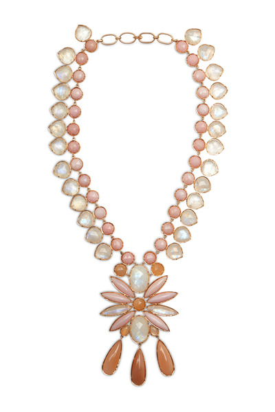 Irene Neuwirth - Yellow Gold Rainbow Moonstone Diamond Necklace