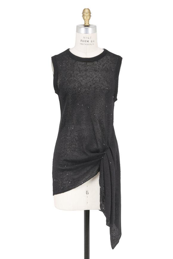 Brunello Cucinelli Onyx Linen & Silk Pailette Sleeveless Top