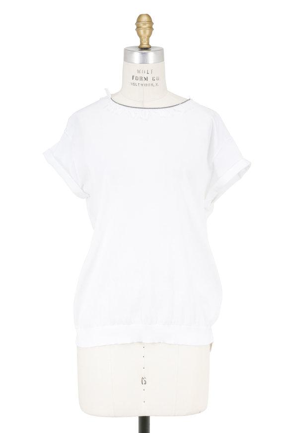 Brunello Cucinelli White Cotton Monili & Fringe T-Shirt