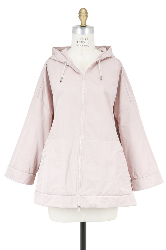 Brunello Cucinelli Pink Taffeta Three-Quarter Sleeve Hooded Anorak