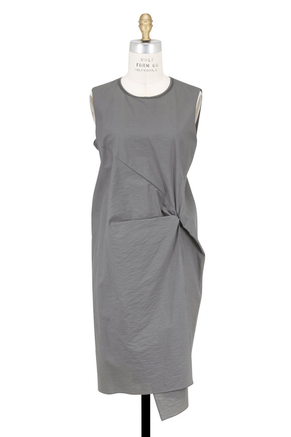Brunello Cucinelli Slate Gray Cotton Crewneck Sleeveless Dress
