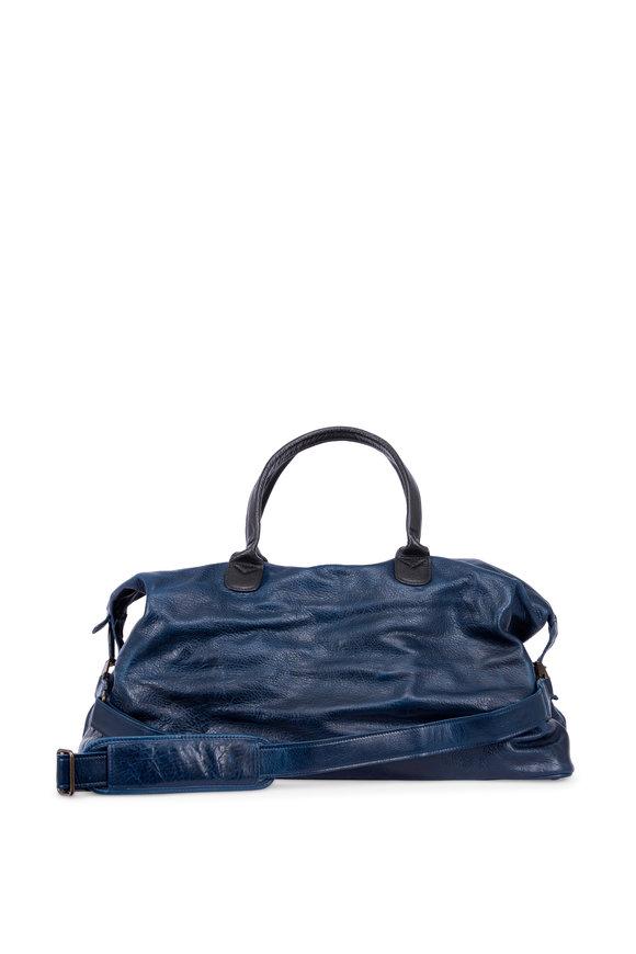 Moore & Giles Benedict Titan Milled Navy Leather Weekend Bag