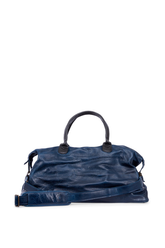 Moore & Giles Benedict Titan Milled Navy Leather Weekend Bag