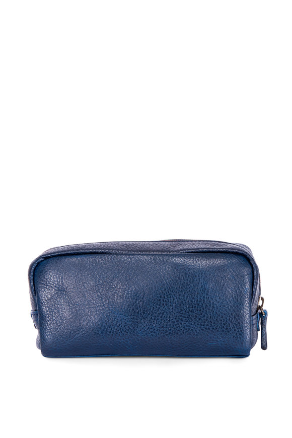Moore & Giles George Navy Leather Mini Dopp Kit
