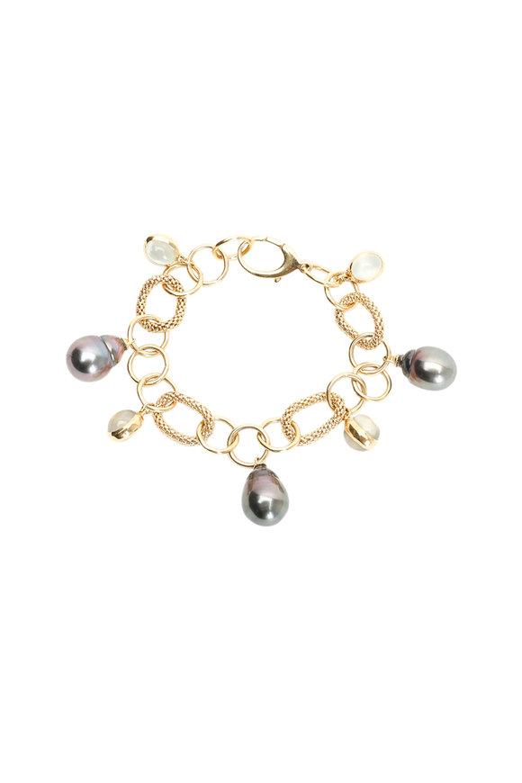 Assael 18K Gold Tahitian Pearl & Moonstone Bracelet