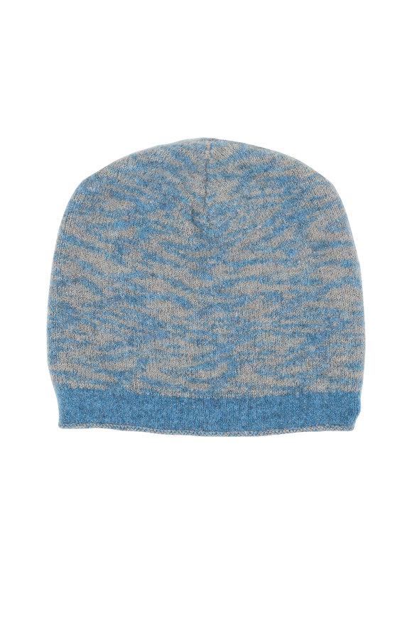 Lainey Keogh Blue & Tan Cashmere Knit Hat