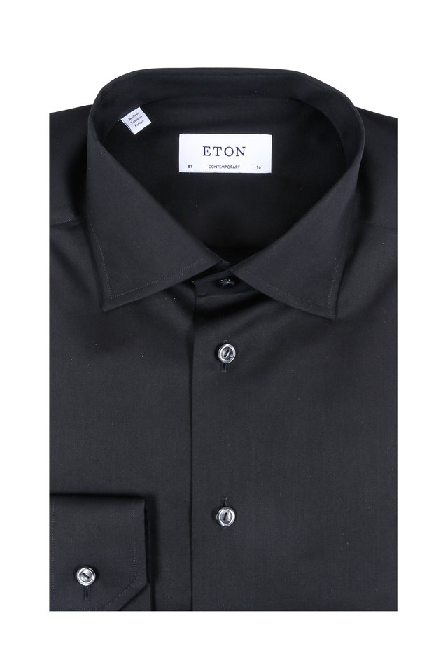 Solid Black Contemporary Fit Dress Shirt
