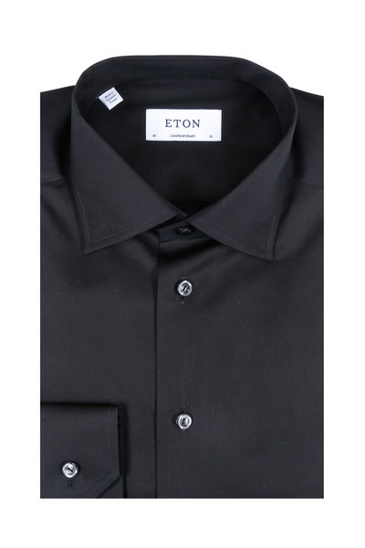 Eton - Solid Black Contemporary Fit Dress Shirt