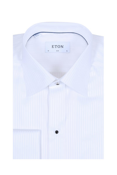 Eton - White Striped French Cuff Slim Fit Dress Shirt