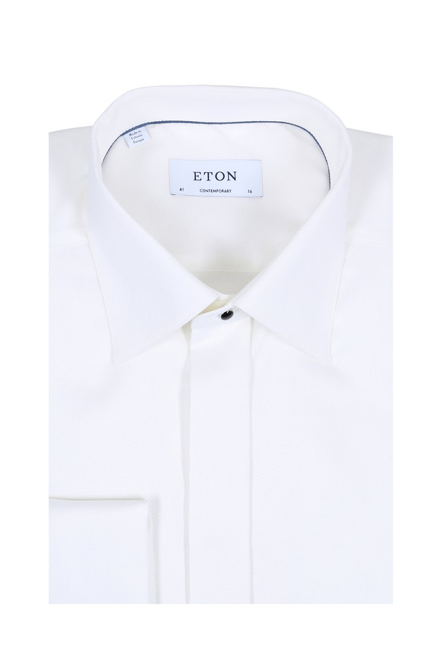 White Contemporary French Cuff Dress Shirt