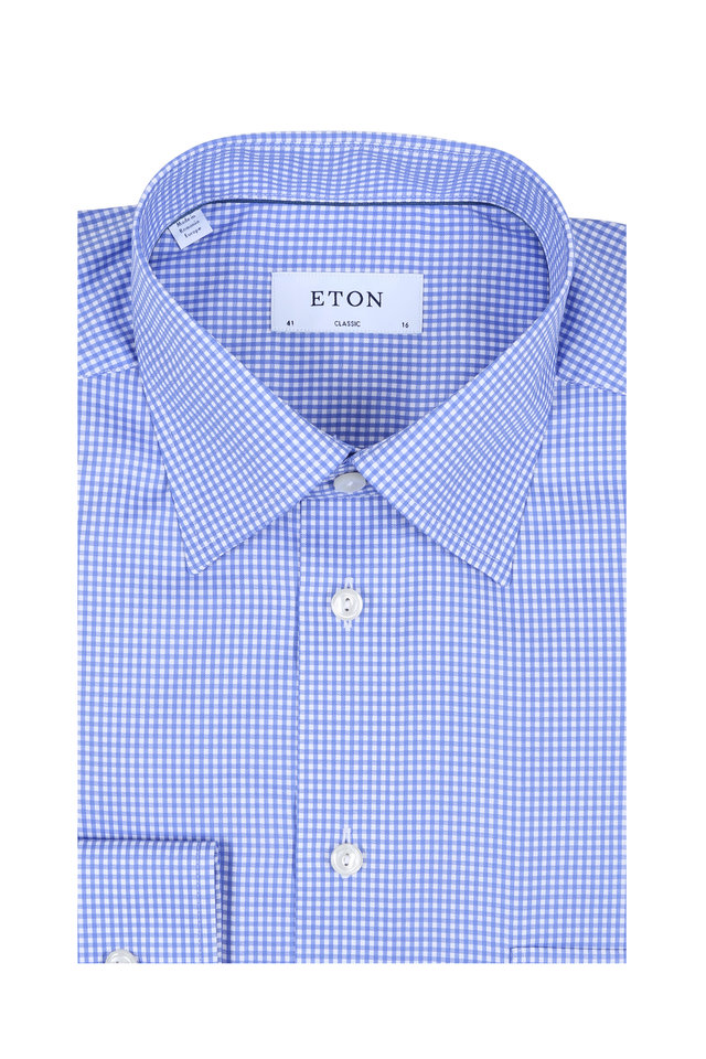 Blue Gingham Classic Fit Dress Shirt
