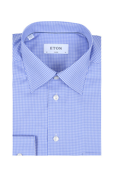 Eton - Blue Gingham Classic Fit Dress Shirt