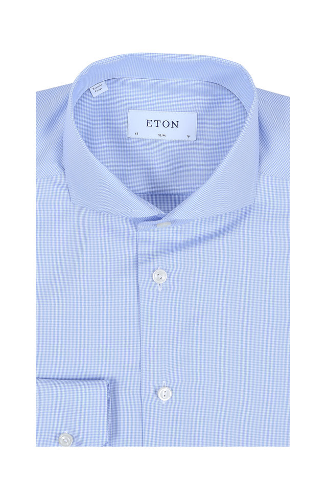 Light Blue Mini Houndstooth Slim Fit Dress Shirt