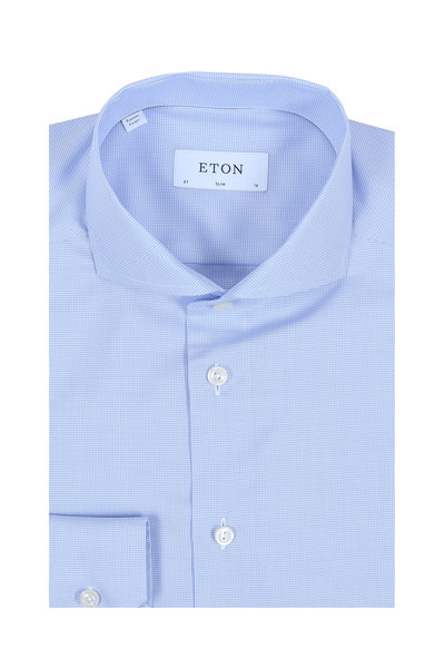 Eton - Light Blue Mini Houndstooth Slim Fit Dress Shirt
