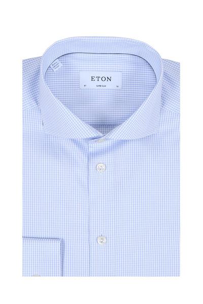 Eton - Light Blue Tattersall Super Slim Dress Shirt