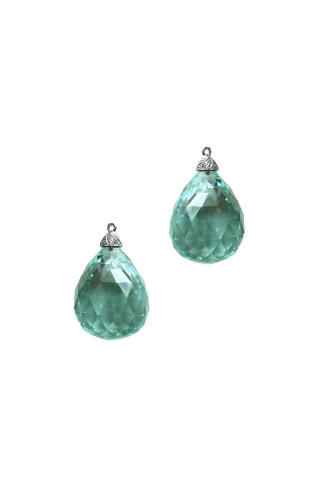 White Gold Aqua Biolette Diamond Earrings