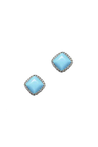 Paolo Costagli - White Gold Turquoise Diamond Sugarloaf Studs