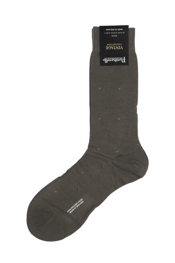 Pantherella  Olive Green Wool Blend Socks