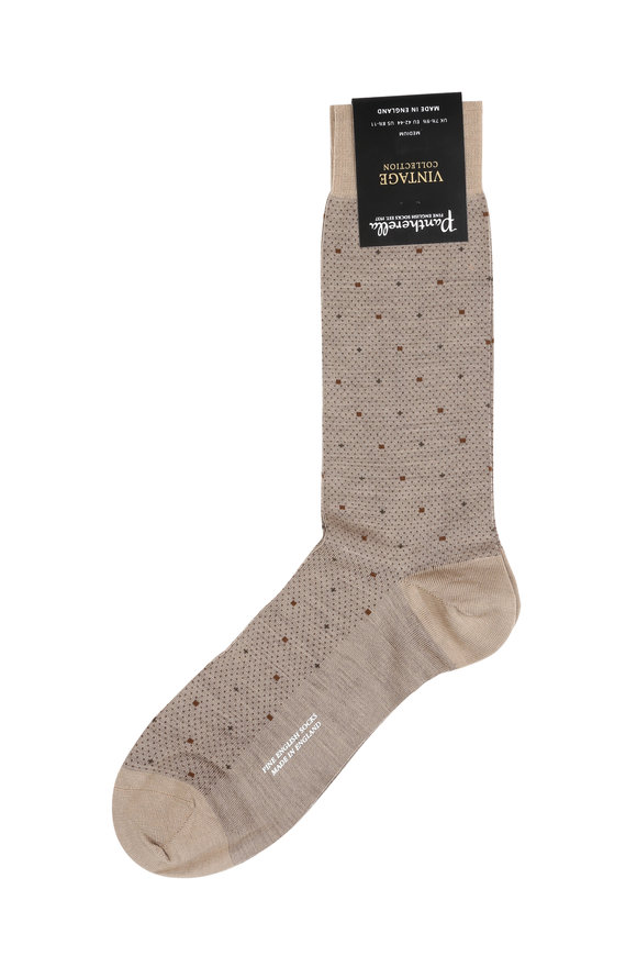 Pantherella  Light Khaki Birdseye Wool Blend Socks
