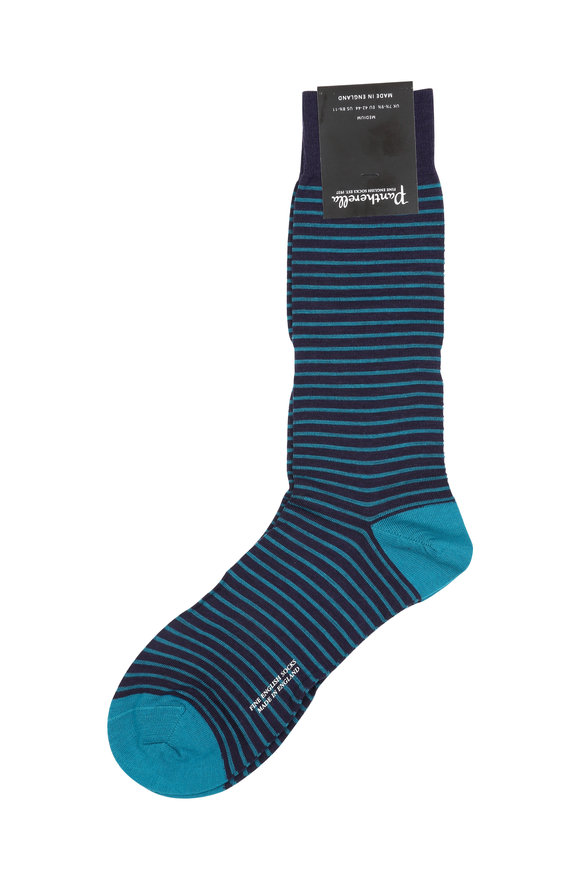 Pantherella  Navy Blue & Teal Striped Wool Blend Socks