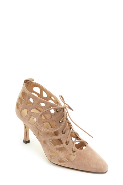Manolo Blahnik - Gongola Taupe Suede Cutout Ankle Boot, 70mm