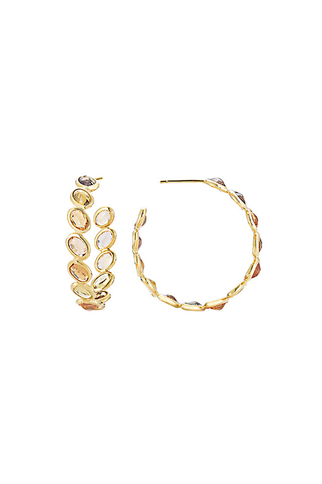 Ombre Yellow Gold Orange Sapphire Hoops