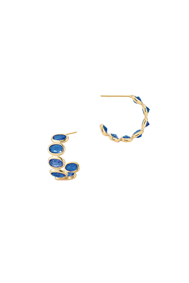 Ombre Yellow Gold Blue Sapphire Small Hoops