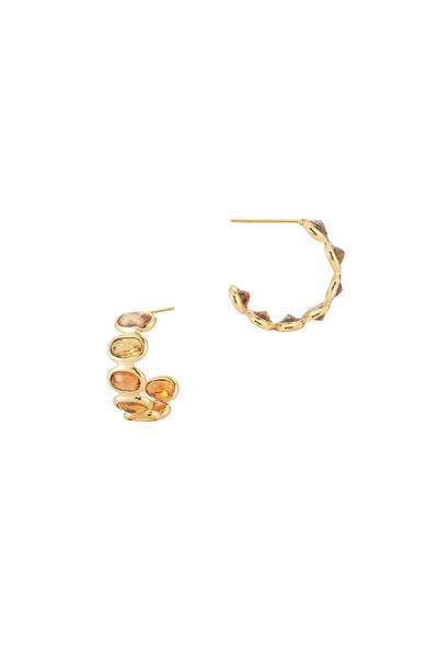 Paolo Costagli - Gold & Orange Sapphire Small Hoops