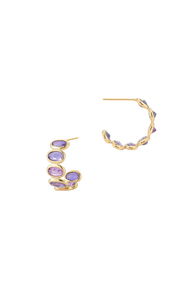 Paolo Costagli - Ombre Yellow Gold Purple Sapphire Small Hoops