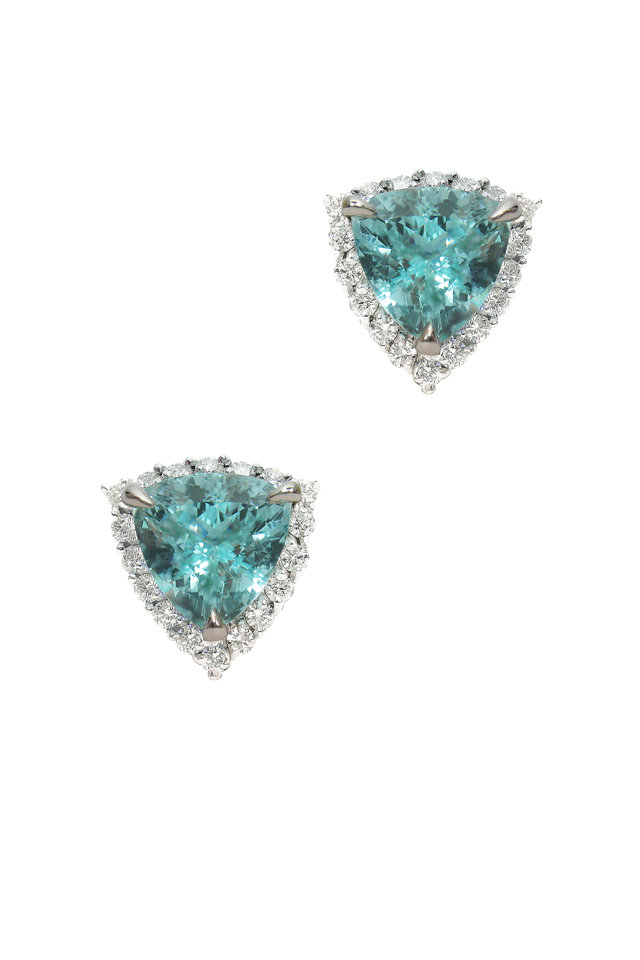 White Gold Paraiba-Type Tourmaline Earrings