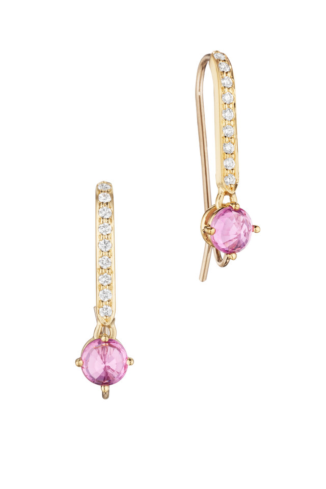 Yellow Gold Pink Sapphire Diamond Earrings