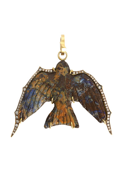 Sylva & Cie - Gold Diamond Opal Hand Carved Swallow Pendant