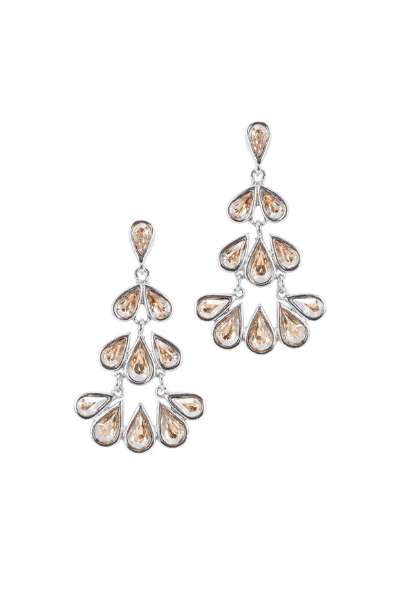 Oscar de la Renta Champagne Chandelier Teardrop Earrings