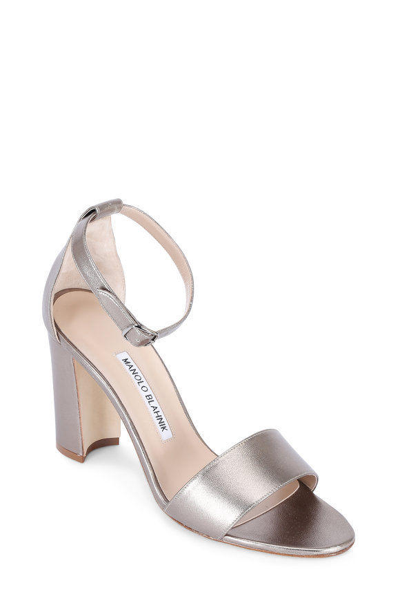 Manolo Blahnik Gunmetal Leather Ankle Strap Sandal, 80mm