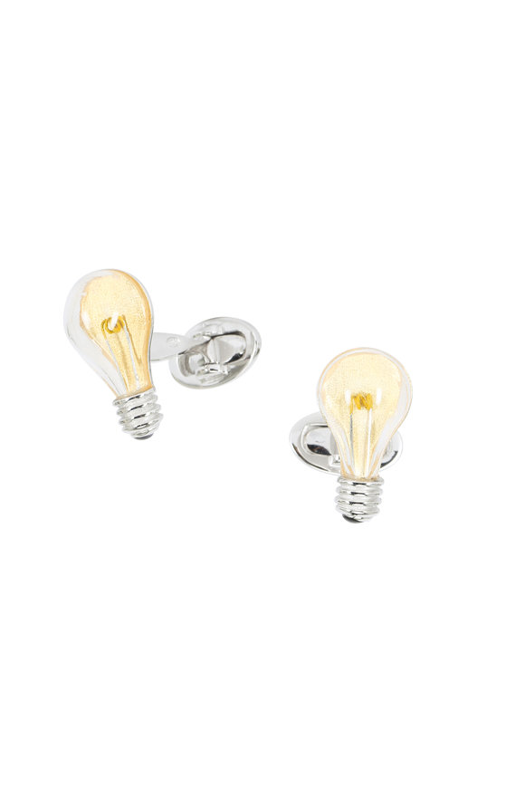 Jan Leslie Yellow Light Bulb Cuff Links