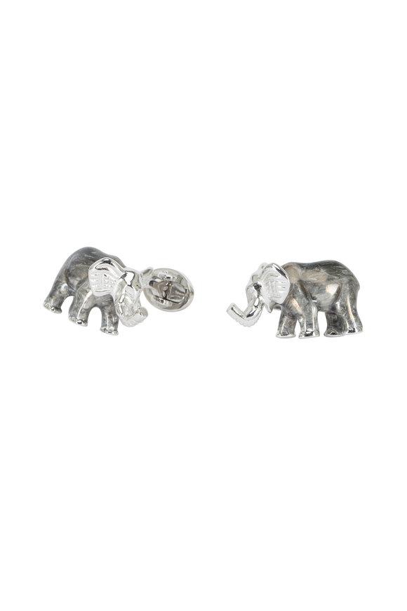 Jan Leslie Sterling Silver Elephant Cuff Links