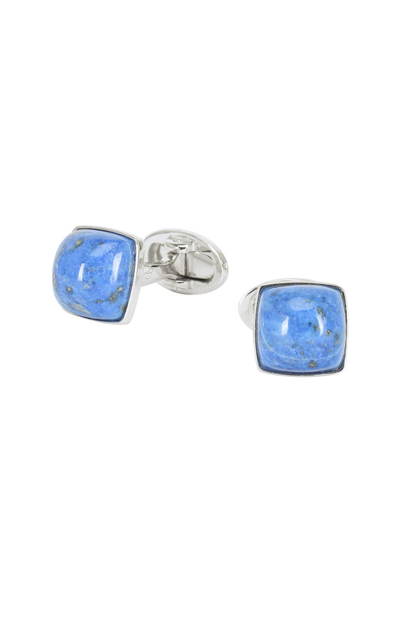 Jan Leslie Sterling Silver Blue Lapis Pyramid Cuff Links