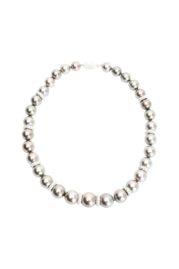 Assael 18K Gold Tahitian Natural Pearl & Diamond Necklace
