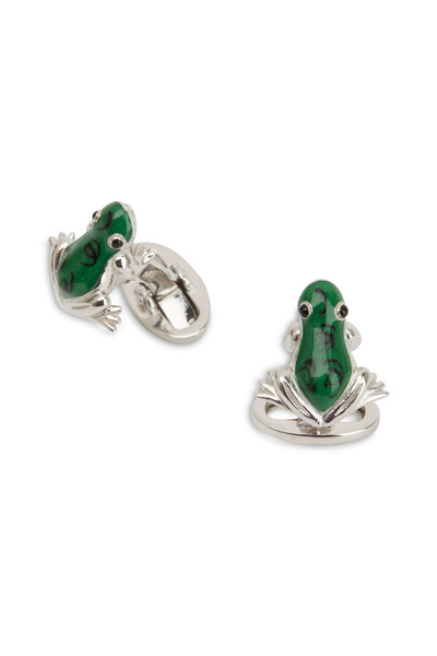 Jan Leslie - Green Frog Cuff Links