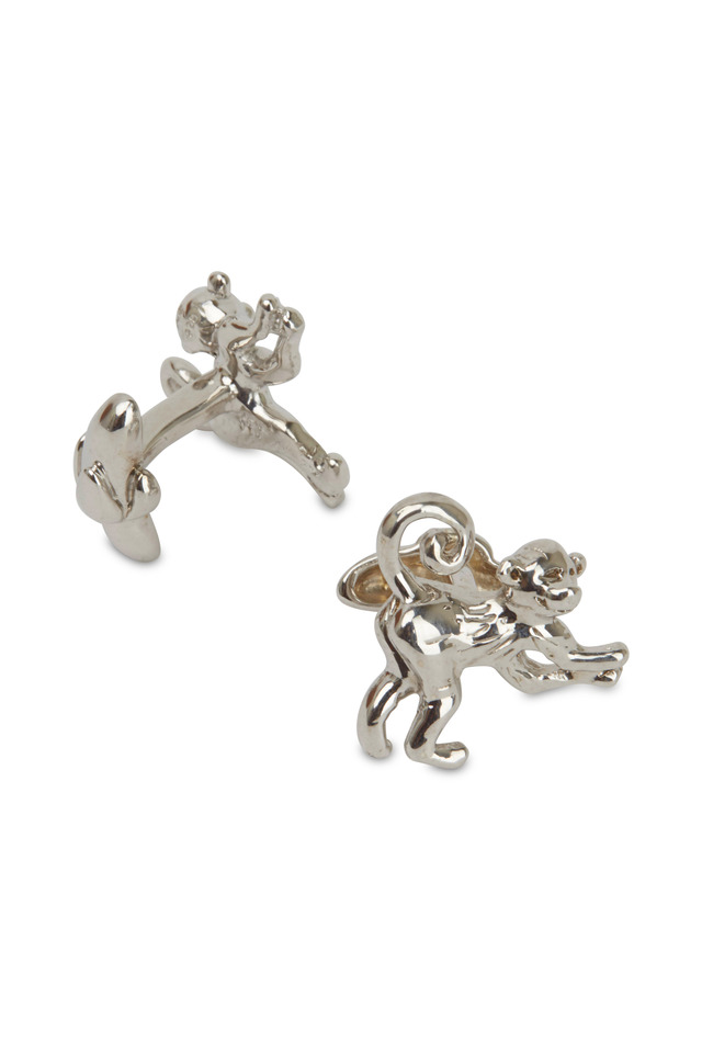 Sterling Silver Monkey Cuff Links