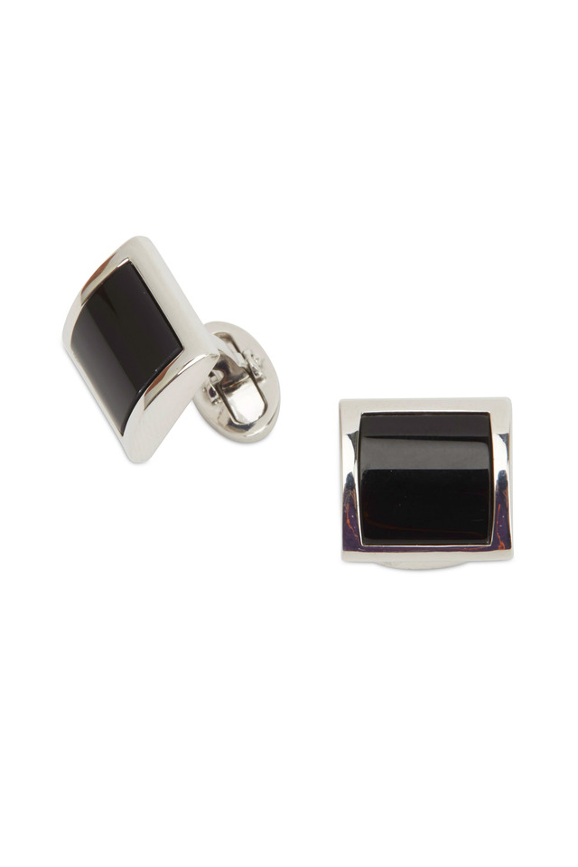 Sterling Silver Curved Black Onyx Cuff Links