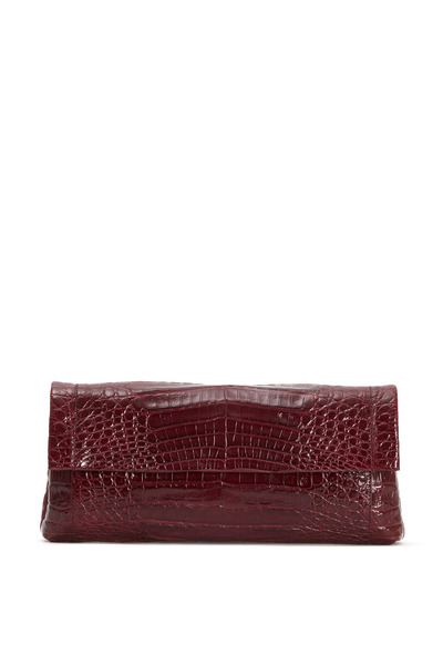 Nancy Gonzalez - Burgundy Crocodile Front Flap Clutch