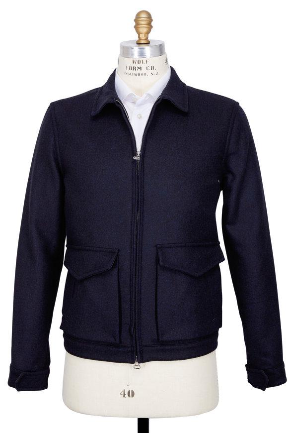 Presidents Kadavu Melton Navy Blue Wool Jacket