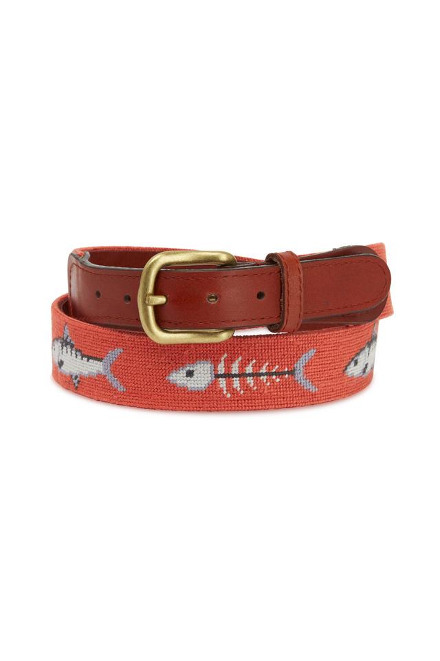 Bonefish Leather & Needlepoint Belt