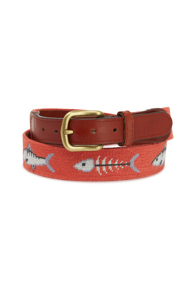 Smathers & Branson - Bonefish Leather & Needlepoint Belt